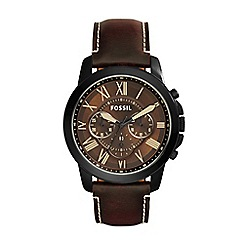 Fossil - Gents brown 'grant' leather strap watch