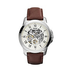 Fossil - Gents brown 'grant' leather strap watch me3052