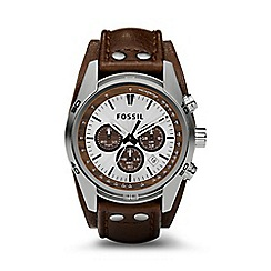 Fossil - Gents tan chronograph leather strap watch