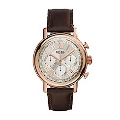 Fossil - Gents rose gold 'buchanan' brown leather strap watch