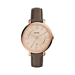 Fossil - Ladies grey 'jacqueline' leather strap watch