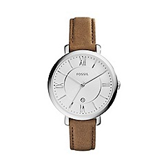 Fossil - Ladies brown 'jacqueline' leather strap watch es3708