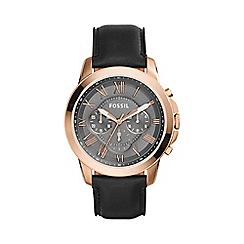 Fossil - Gents rose gold 'grant' black strap watch