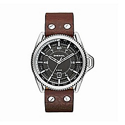 Diesel - Men's 'Rollcage' gunmetal dial brown leather strap watch