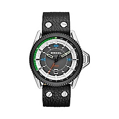 Diesel - Men's 'Rollcage' black dial & leather strap watch