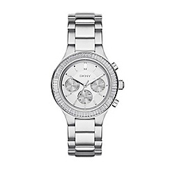 DKNY - Ladies silver 'chambers' chronograph analogue watch