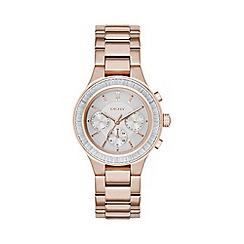 DKNY - Ladies rose gold 'chambers' chronograph analogue watch