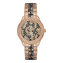 Guess - Ladies rose gold and grey watch with python detail