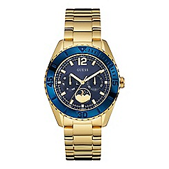 Guess - Ladies gold moon dial watch