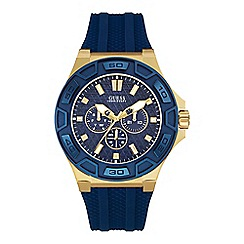 Guess - Men's gold and blue watch with solicone strap