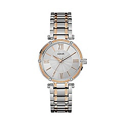 Guess - Ladies silver watch with rose gold detailing w0636l1