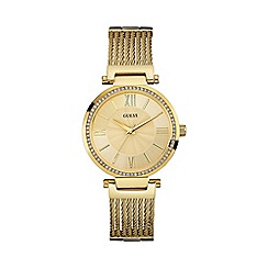Guess - Ladies gold watch with wire bracelet w0638l2