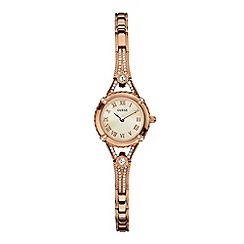 Guess - Ladies rose gold and crystal bracelet g-link watch w0135l3