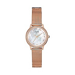 Guess - Ladies rose gold mesh bracelet watch w0647l2