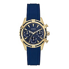 Guess - Ladies blue and gold  silicone strap watch
