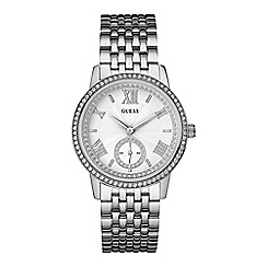 Guess - Ladies silver watch with crystals w0573l1