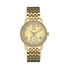 Guess - Ladies gold watch with crystals w0573l2