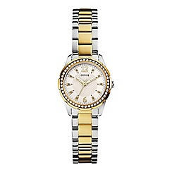Guess - Ladies gold and silver bracelet watch with crystal detail