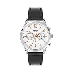 Henry London - Men's black chronograph 'Highgate' leather strap watch
