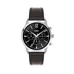 Henry London - Ladies black 'Edgware' leather strap watch