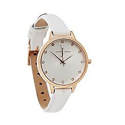 J by Jasper Conran - Ladies' white fan textured watch