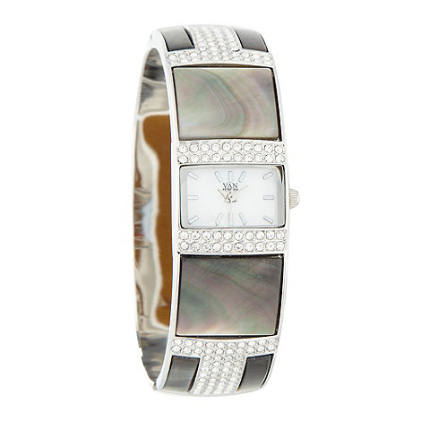 Van Peterson 925 - Ladies cubic zirconia embellished and natural abalone shell bangle watch