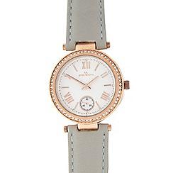RJR.John Rocha - Pale grey leather analogue watch