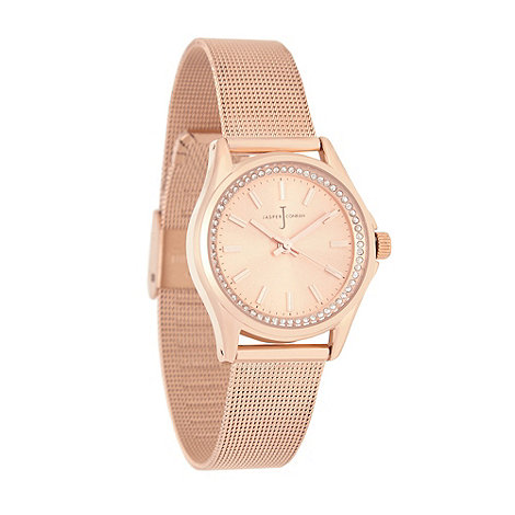 J by Jasper Conran - Ladies rose gold plated mesh analogue watch