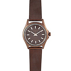 J by Jasper Conran - Ladies' brown mesh strap watch