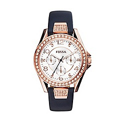 Fossil - Ladies rose gold chronograph strap watch