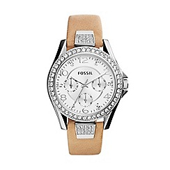 Fossil - Ladies silver chronograph strap watch