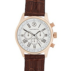 Infinite - Men's brown croc-effect mock multi dial watch