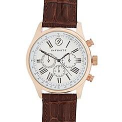 Infinite - Men's brown croc-effect mock multi dial watch