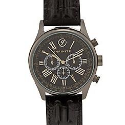 Infinite - Black croc-effect multi dial watch