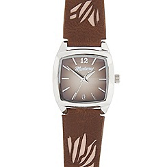 Mantaray - Ladies' brown and silver tonneau watch