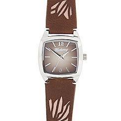 Mantaray - Ladies' brown and silver tonneau watch