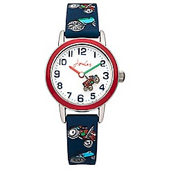 Joules - Boy's blue tractor printed silicone strap watch