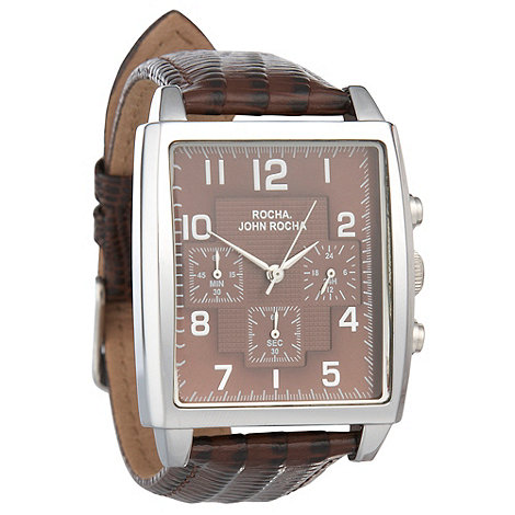 RJR.John Rocha - Men+s brown rectangle watch