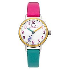 Joules - Girls pink/aqua pop colour strap watch