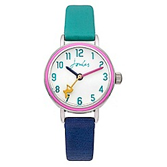 Joules - Girls aqua/navy pop colour strap watch