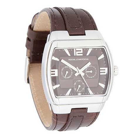 RJR.John Rocha - Men+s brown chronograph dial leather strap watch