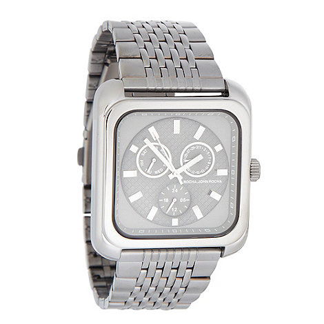 RJR.John Rocha - Men+s dark grey square chronograph dial bracelet watch