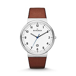 Skagen - Gents brown strap watch