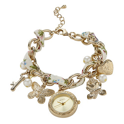 Mantaray - Ladies gold charm bracelet watch