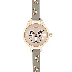 Floozie by Frost French - Grey kitty cat analogue watch