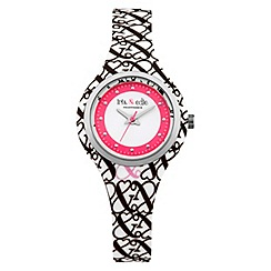 Iris & Edie - Ladies white logo print watch