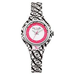 Iris & Edie - Ladies white logo print watch