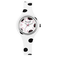 Iris & Edie - Ladies black polka dot print watch