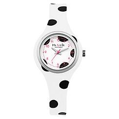 Iris & Edie - Ladies black polka dot print watch