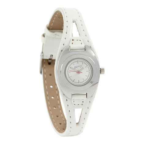 Mantaray - Ladies white cutout strap watch